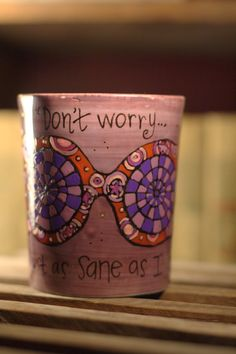 "Luna Lovegood ""You're just as sane as I am"" Quote Mug - Hand painted, huge lavender mug with spectrespecs - Harry Potter - Purple"