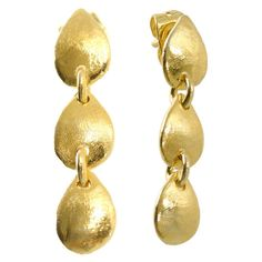 DANGLE EARRINGS Solid 18K Yellow Gold Earring Unique Handmade Gold... (€440) ❤ liked on Polyvore featuring jewelry, earrings, yellow gold earrings, gold dangle earrings, earrings fine jewelry, long gold earrings and long drop earrings