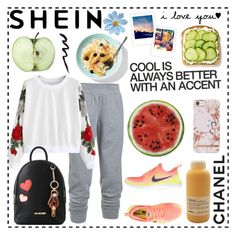 """""""""""Work hard, stay positive, and get up early. It's the best part of the day."""" - George Allen, Sr."""" by getterkagu ❤ liked on Polyvore featuring Under Armour, NIKE, Love Moschino, Round Towel Co., Davines and La Femme"""