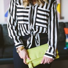 striped top and gigi new york clutch
