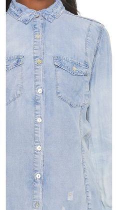 BLANK DENIM Frayed Chambray Button Down. #blankdenim #cloth #top #shirt