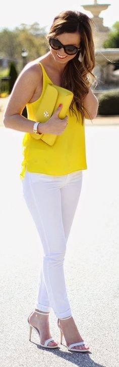 White And Neon Yellow Outfit Idea by For All Things Lovely