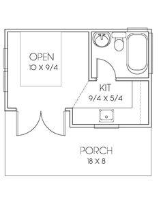 Bungalow Style House Plan - 1 Beds 1 Baths 200 Sq/Ft Plan #423-67 Floor Plan - Main Floor Plan - Houseplans.com