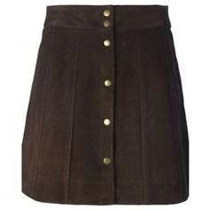 FRAME DENIM Suede Buttoned Short Skirt