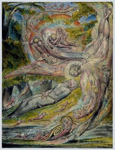 William Blake. Milton's Mysterious Dream. 1820.  Surrealism - dreams - subconscious mind
