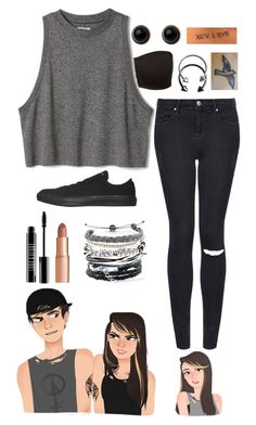 """""""Female Calum Hood"""" by alex-bows ❤ liked on Polyvore featuring Converse, Topshop, Pieces, Adele Marie, Lord & Berry, Charlotte Tilbury and Domo Beads"""