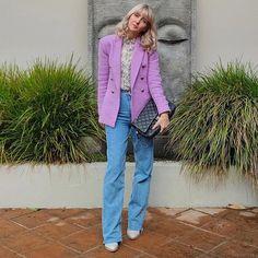 Melissa wears a purple blazer and jeans   40plusstyle.com