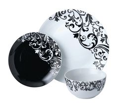 Buy HOME Damask 12 Piece Porcelain Dinner Set - Black at Argos.co.uk - Your Online Shop for Crockery, Tableware, Cooking, dining and kitchen equipment, Home and garden.
