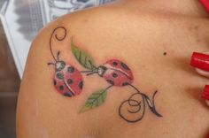 Ladybugs n Leaves Tattoo On Shoulder