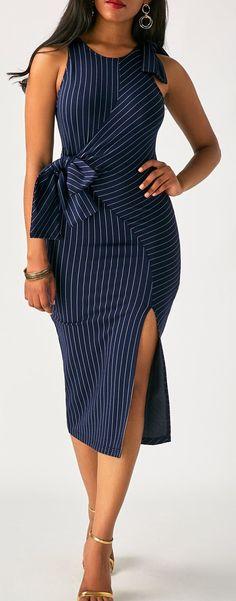 Navy Blue Pinstriped Sleeveless Bow Side Slit Midi Dress   #liligal #dresses #womenswear #womensfashion