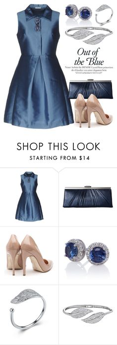 """""""Blue Dresses 2574"""" by boxthoughts ❤ liked on Polyvore featuring P.A.R.O.S.H., Jessica McClintock, Rupert Sanderson and Penny Preville"""