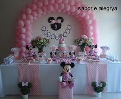 Minnie Mouse 1st Birthday, Minnie Mouse Baby Shower, Minnie Mouse Pink, Minnie Mouse Party, Minnie Mouse Decorations, Birthday Decorations, 4th Birthday Parties, 1st Birthdays, Pink Gold Birthday