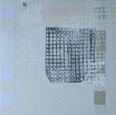 """Schwarzes Quadrat im Quadrat"", Acryldruck über genähter, bestickter Leinwand."