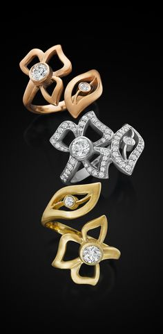 Florette wrap rings glow in 18k rose, white and yellow gold with diamonds