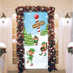 The Holiday Aisle North Pole Elves Christmas Garage Front Door Mural Diy Christmas Door Decorations, Christmas Door Decorating Contest, Christmas Classroom Door, School Door Decorations, Garage Door Decor, Door Murals, The Doors, Grinch, Techno