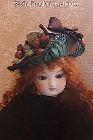 French Fashion ~ Bebe Bonnet ~ Vintage Straw with Antique silk - Zofia Rose's Emporium #dollshopsunited
