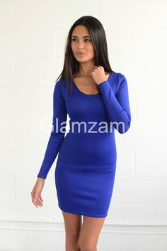 womens ladies  kyla mini  sexy bodycon blue long sleeve mini wiggle pencil  dress size 3b47ec06f