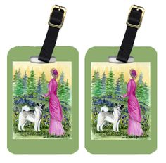 Lady with her Norwegian Elkhound Luggage Tags Pair of 2
