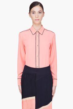 Marni Peach Piped Shirttail Blouse for Women | SSENSE