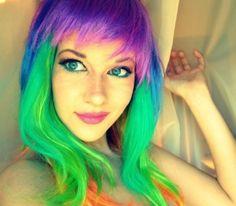 amazing hair   mermaid hair, funny girl, smile, rainbow hair, hairstyle, unique hair ...
