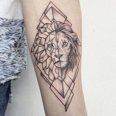 Big small Lion Tattoo designs with meaning & symbolism for men & women. Tribal, geometric or small lion tattoo for the sleeve, chest, hand, arms or thighs. Geometric Tattoo Meaning, Geometric Lion Tattoo, Geometric Tattoo Design, Geometric Sleeve, Lion Forearm Tattoos, Leg Tattoos, Sleeve Tattoos, Fake Tattoos, Trendy Tattoos