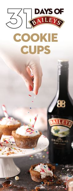 Name: Baileys Cookie Cups. Ingredients: 1 oz Baileys Original Irish Cream, 1 oz espresso liqueur, 2 oz whole milk, 2 oz espresso, cookie cup, white chocolate, whipped cream. Directions: Combine Baileys, espresso, espresso liqueur & whole milk in a cocktail shaker with ice. Shake well. Strain into a sprinkle cookie cup. Top with whipped cream & sprinkles with a straw. Irish Desserts, Holiday Desserts, Baileys Cocktails, Baileys Original Irish Cream, Delicious Desserts, Yummy Food, Sprinkle Cookies, Dessert Dips, Cookie Cups