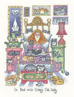 In Bed with Crazy Cat Lady - Heritage Crafts cross stitch