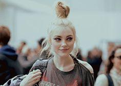 Love her blonde bun