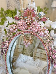 Bejeweled Pink Shabby Romantic Antique Mirror-Weiss, Juliana,brush, comb, vintage, Clock,tray, mirror, perfume, antique, vintage, victorian, Sparkle,