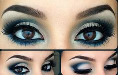 101 Eye Make Up Tutorials From Around The World - White and Navy eyeshadow black liner Makeup Inspo, Makeup Inspiration, Makeup Ideas, Navy Eyeshadow, Eye Makeup, Makeup Brushes, Makeup Tools, Makeup Geek, Eyeliner