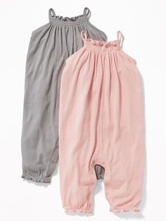 2-Pack Sleeveless Textured-Crepe Romper for Baby