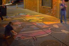 Young artist working late #sidewalk #chalk