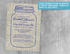 Navy Blue Rustic Burlap Mason Jar Bridal Shower Invitations