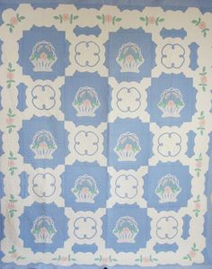 Vintage 1920s French Baskets Applique QUILT in Blue
