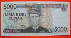 5000 Rupiah banknote from Indonesia form the year 1986