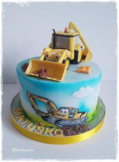 Excavator cake by Blacksun Baby Boy Cakes, Cakes For Boys, Excavator Cake, Digger Cake, Cupcake Cakes, Cupcakes, Creative Cakes, Celebration Cakes, Let Them Eat Cake