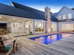 Hamptons-Style House Design - Storybook Designer Homes Decking around pool Die Hamptons, Hamptons Style Homes, Hamptons Beach Houses, Hamptons Style Bedrooms, Style At Home, Patio, Backyard, Melbourne, Weatherboard House
