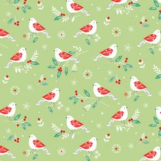 WINTER WONDERLAND - BIRDS ON LIGHT GREEN