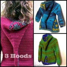 Looking for your next project? You're going to love 3 Hoods - 3 crochet hooded cardigans by designer SylvChezPlum.