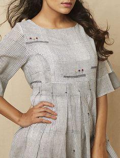 Ivory Block-printed checkered Cotton Dress with Embroidery Collar Kurti Design, Kurta Neck Design, Casual Gowns, Best Casual Dresses, Salwar Designs, Kurta Designs Women, Dress Neck Designs, Designs For Dresses, Embroidery Online