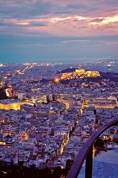 Dusk in Athens, Greece