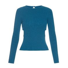 Emilia Wickstead Heidi cut-out sides ribbed-knit sweater (48.620 RUB) ❤ liked on Polyvore featuring tops, sweaters, blue, blue print top, patterned tops, emilia wickstead, blue sweater and print top