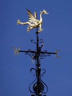 Dragon weathervane atop the clock tower of the Sir John Bennett Shop at Greenfield Village in Dearborn, MI Henry Ford Museum, Dragon Dreaming, Lightning Rod, Weather Vanes, Garden Deco, Les Themes, Objet D'art, Dragon Art, Windmill