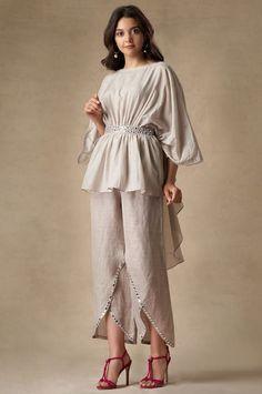 Buy Linen Embellished Pants by Twenty Nine at Aza Fashions Indian Fashion Dresses, Dress Indian Style, Indian Designer Outfits, Indian Outfits, Indian Fashion Modern, Stylish Dress Designs, Designs For Dresses, Stylish Dresses, Kurta Designs Women