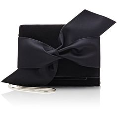 Victoria Beckham Bow Mini-Clutch (28,370 MXN) ❤ liked on Polyvore featuring bags, handbags, clutches, black, black bow handbag, victoria beckham purses, bow purse, suede purse and black bow purse