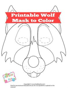 Printable Wolf Mask to Color