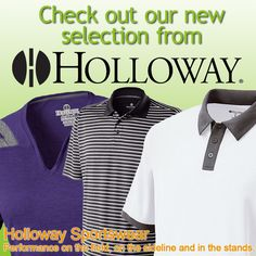 Custom imprinted Holloway Sportswear - durable, active and stylish! #promotion #polo #sportswear #apparel #Holloway