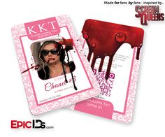 "Scream Queens Inspired ""Chanel #3"" Kappa Kappa Kappa Tau Sorority ID (Bloody)"