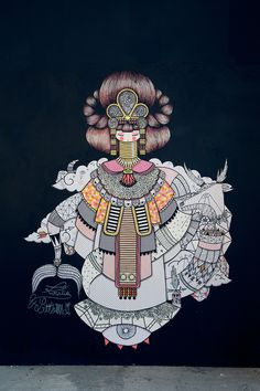 KoraliexLittleMadi-Kolor-tour-MamiebOudecr14 Graffiti Art, Art Graphique, Pattern Illustration, Graphic Patterns, Land Art, Street Artists, Illustrations, Urban Art, Folk Art