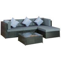 villana loungemöbel, anthrazit, polyrattan, 5 personen, inkl
